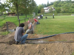 Installation der Beregnungsanlage 2011